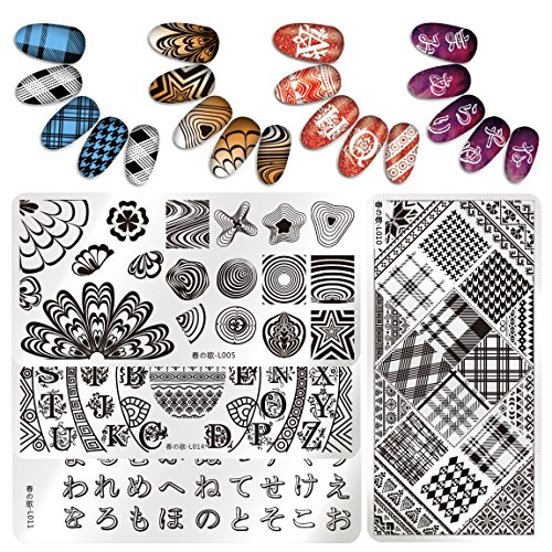 Nicole Diary Rectangle Nail Art Stamp Template Kits Checked Wave Line Letters Water Marble Design Image Plate Set Diy