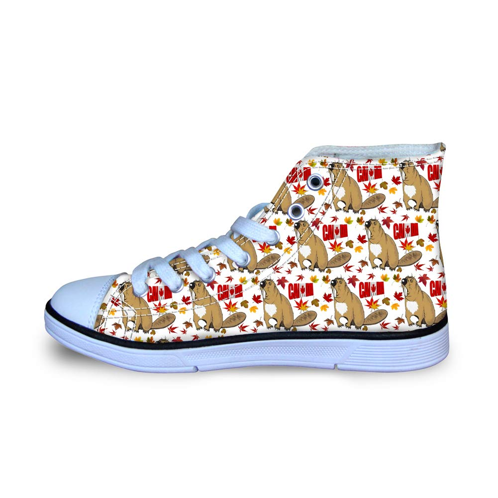 Canvas High Top Sneaker Casual Skate Shoe Boys Girls Beaver Canada Flag Maple Leaf