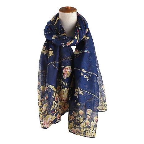 TOPSTORE01 Châle Femme Oiseaux et Fleurs Beau Foulard Écharpe Fille Étole  (Bleu)  Amazon.fr  Vêtements et accessoires 5f17f7c9b5c