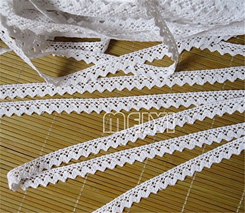 - 10 Meters Cotton Crochet Cluny Lace Edge Trim Ribbon 1/2 inch Width Vintage Style White Beige Edging Trimmings Fabric Embroidered Applique Sewing Craft Wedding Bridal Dress DIY Clothes Decor(White)