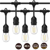 LED Outdoor String Lights- Geecol 49Ft Waterproof IP65 Commercial Grade S14 Heavy Duty Festoon String Light 15 Hanging Sockets with 15 S14 2W LED Bulb Warm White 2700K for Party Patio Garden Energy Class A+