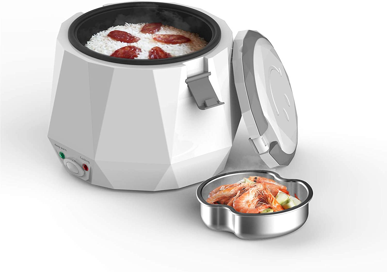 Mini Rice Cooker,Travel Rice Cooker Small with Non-stick Pot,Keep Warm Function, Suitable For 1-2 People - For Cooking Soup, Rice, Stews, Grains & Oatmeal (White)