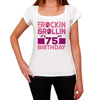 One in the City Rockin&Rollin 75, Camisetas Mujer cumpleaños ...