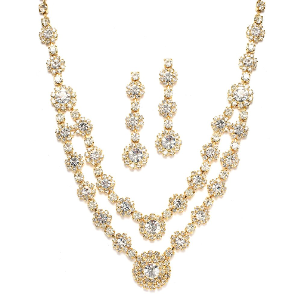 Mariell Regal Gold Two-Row Rhinestone Crystal Necklace and Earrings Set for Prom, Brides and Bridesmaids