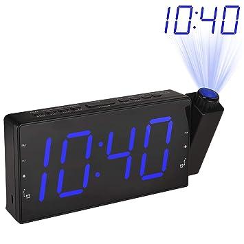 Amazon.com: LeeQin Reloj despertador de proyección de radio ...