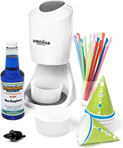 Hawaiian Shaved Ice S900A Shaved Ice & Snow Cone Machine with Blue Raspberry Flavored Syrup and Accessories