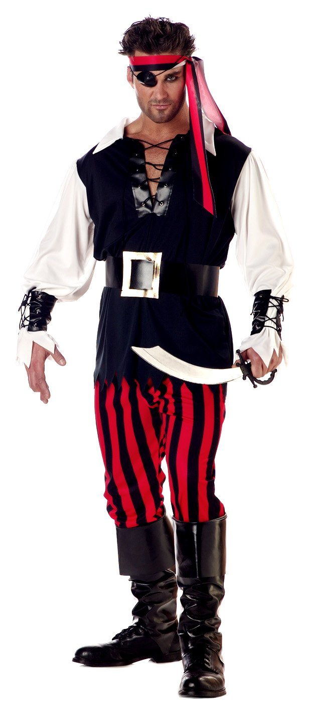 California Costumes Men's Adult-Cutthroat Pirate, Black/Red/White, XL (44-46) Costume
