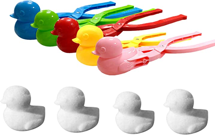 Winter Outdoor Toys Snow Ball Clip Sand Ball Mold for Kids and Adults BEFOKA Cute Duck Snowball Maker Tool with Handle for Snow Ball Fights Decorate Hearts for Winter Trees