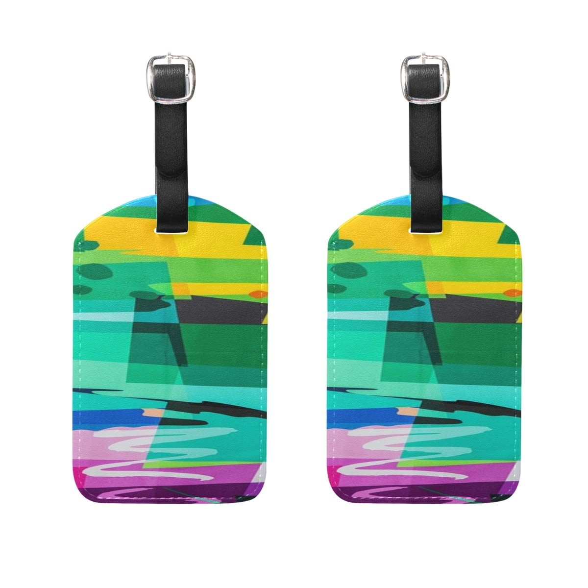Fabric Pattern Cotton Silk Color Textile Painted Pattern Pu Leather Id Tags Business Card Holder Labels Baggage Suitcase Luggage Tags Travel Accessories