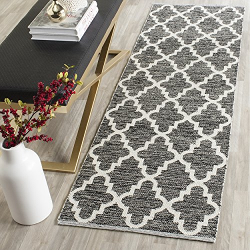 Safavieh Montauk Collection MTK810D Handmade Flatweave Black and Ivory Cotton Runner (2'3 x 7′)