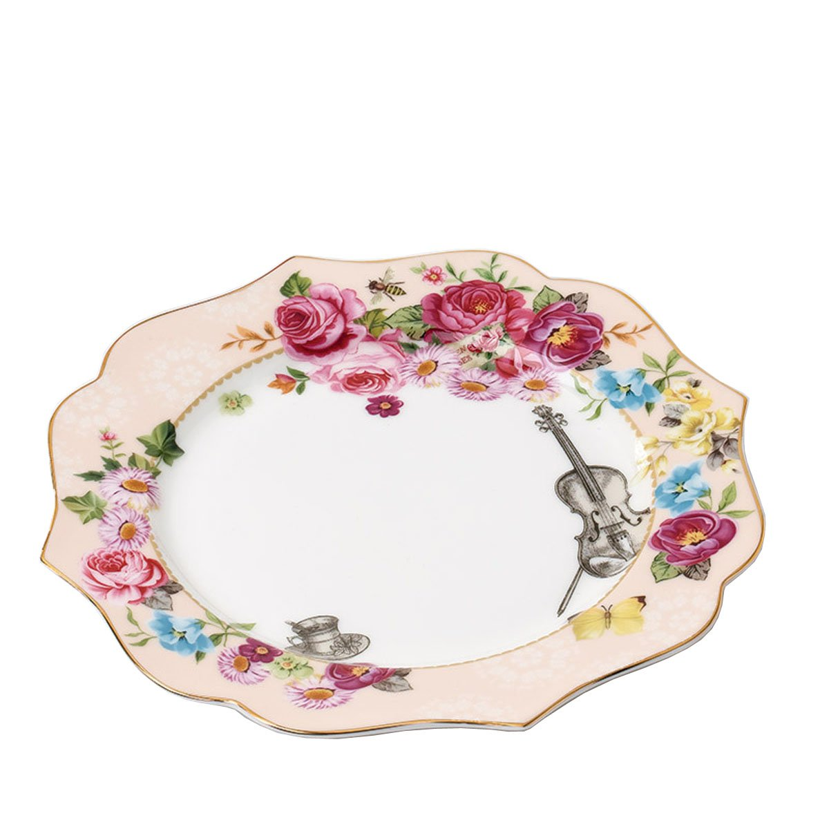 FlorisHome Vintage Style Secret Garden Fine Bone China Flower Gold Trim Dessert Plate Fruit Plate Cake Plate Violin and Butterfly Present for Lovers-8 Inches