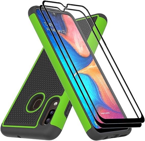 Amazon Com Galaxy A20 Case Samsung A20 Case Galaxy A30 Case With Tempered Glass Screen Protector Dahkoiz Armor Defender Cover Galaxy A20 Phone Case Dual Layer Protective Case For Samsung Galaxy A20 A30 Green