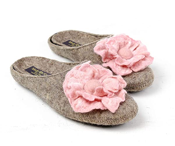 19735c2a84 Image Unavailable. Image not available for. Color: Handmade Women's 100% wool  slippers with pink flower and arch support insole
