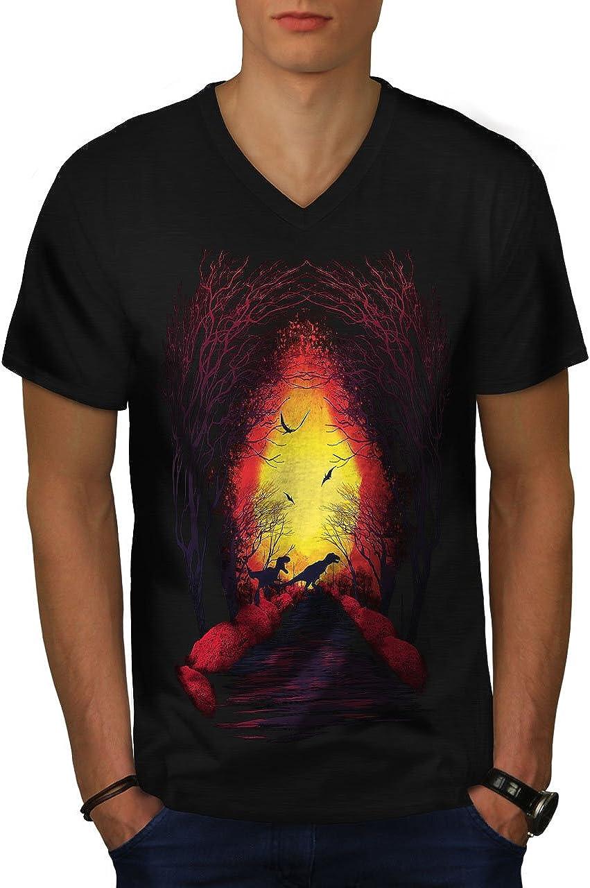 Raptor Graphic Design Wellcoda Fireplace Forest Mens Long Sleeve T-shirt
