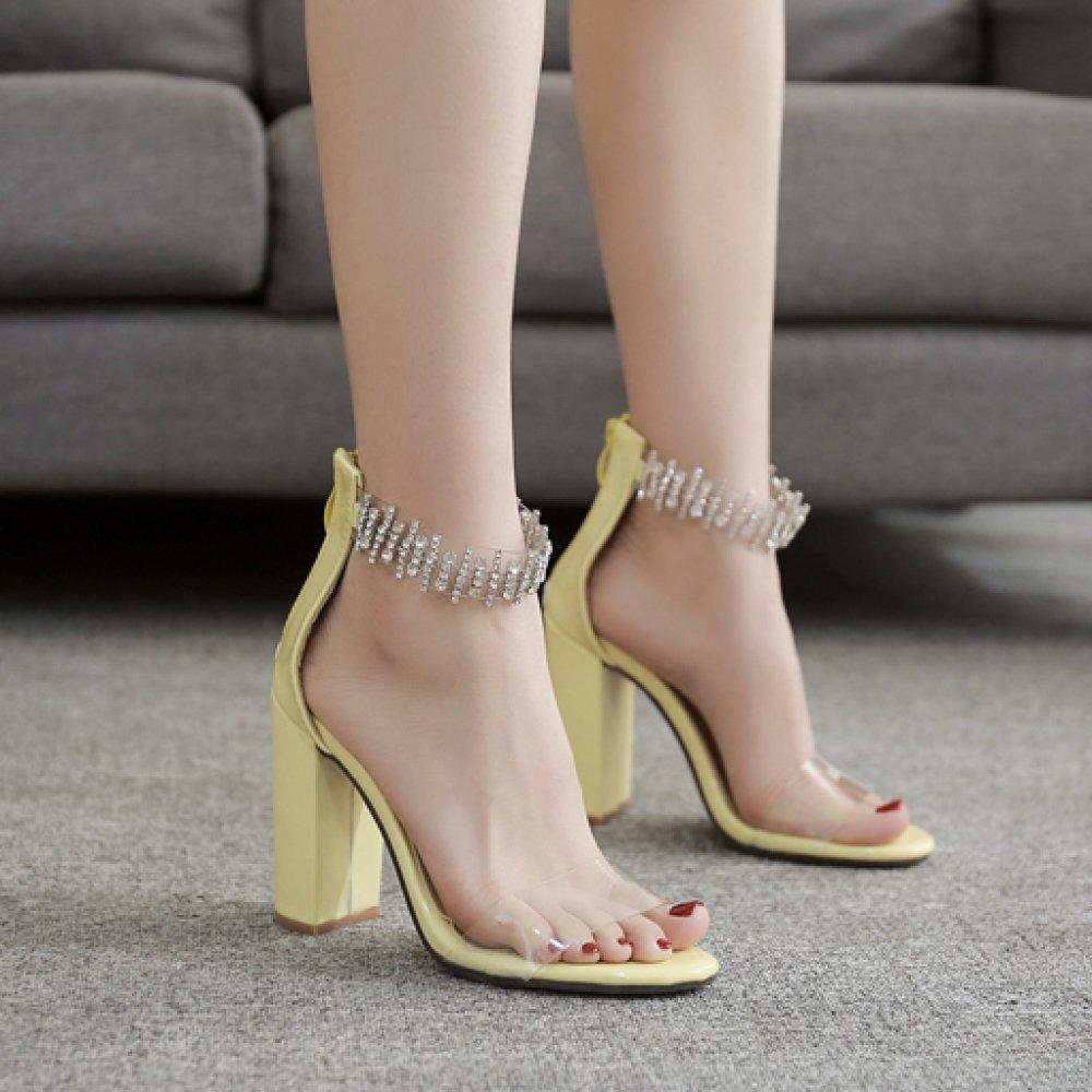 ZPFME Frauen Knöchelriemen High Heels Sexy Block Sandalen Party Ausgeschnitten Abend Prom Damen Party Sandalen Peep Toe Schuhe Pumps Yellow e3f58c