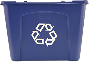 Rubbermaid Commercial 571473BE Stacking Recycle Bin Rectangular Polyethylene 14gal Blue