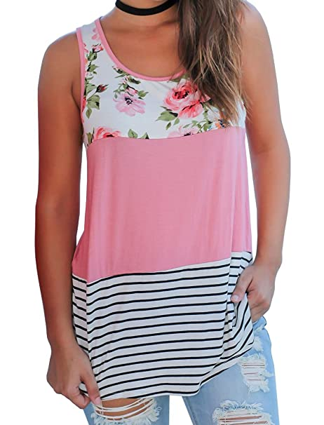 77f5407f8cacba Halife Sleeveless Floral Shirts for Women Striped Color Block Tank Top Pink  S