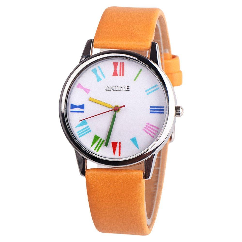 JiaMeng Damas Mujeres Pura Cara Retro Rainbow Design Leather Band Reloj de Pulsera de Cuarzo de aleación analógica(Azul): Amazon.es: Ropa y accesorios