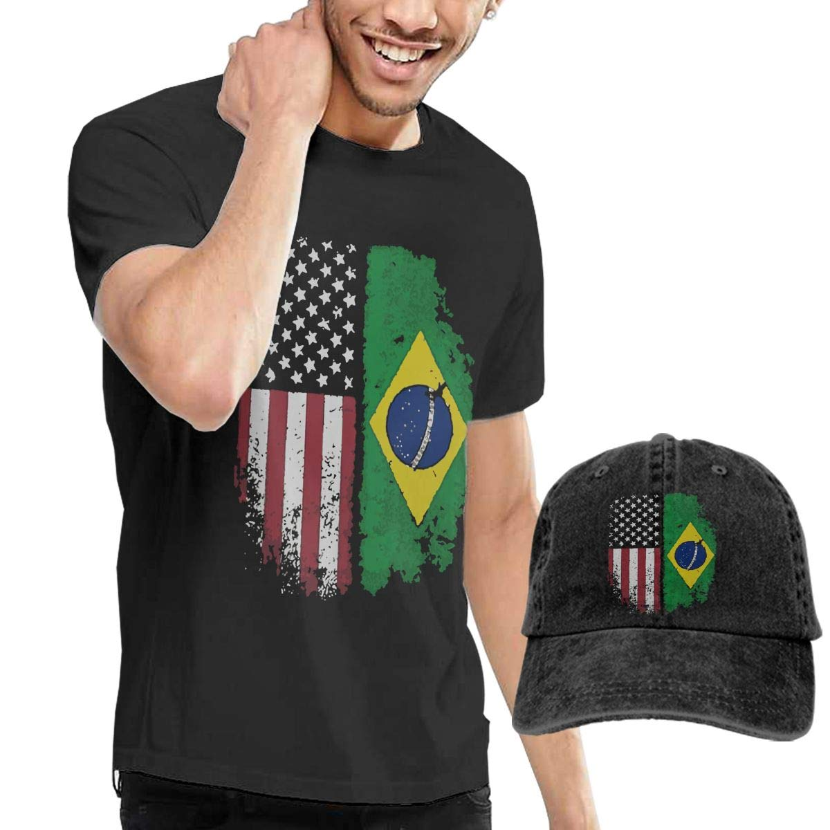 Vintage Brazilian American Flag Adult Mens Casual T-Shirts and Sport Jean Headgear