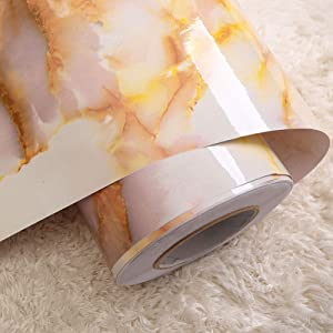 JYPHM Gold Marble Contact Paper Film Peel and Stick Countertops PVC Self-Adhesive Wallpaper Sticker Contact Paper Shelf Liner Table and Door Reform or Home and Office 61x500cm(24x196.8inch)