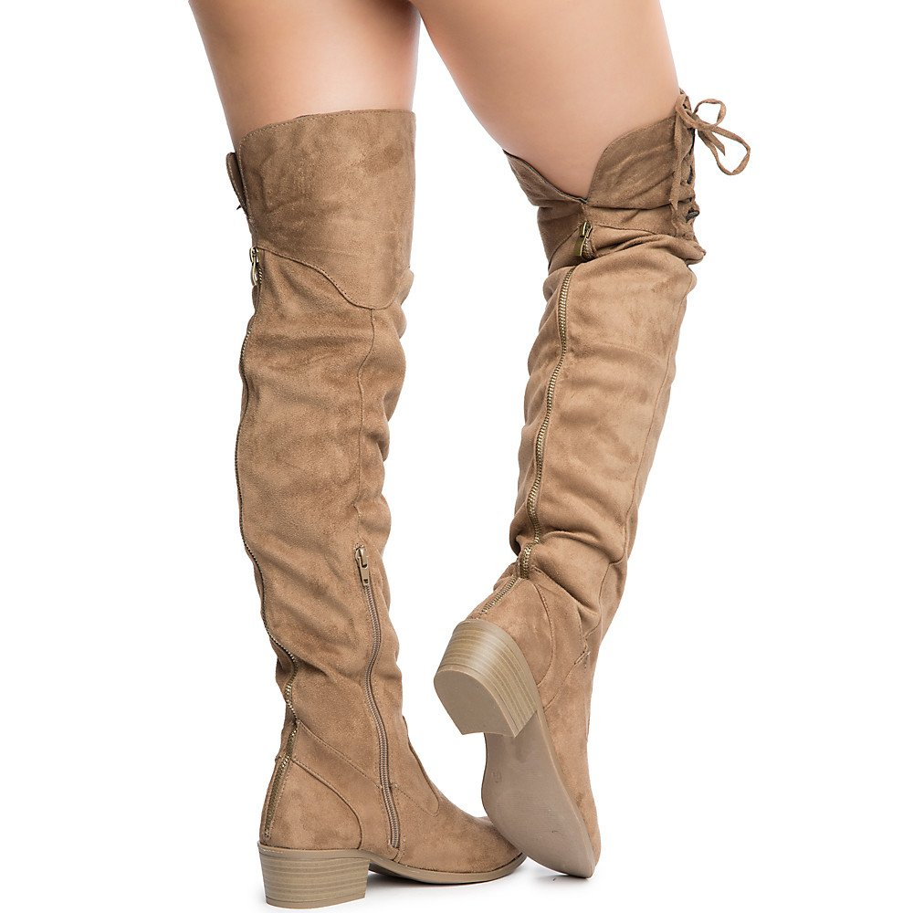 Shiekh Womens Merry-53 Over The Knee Boot Taupe