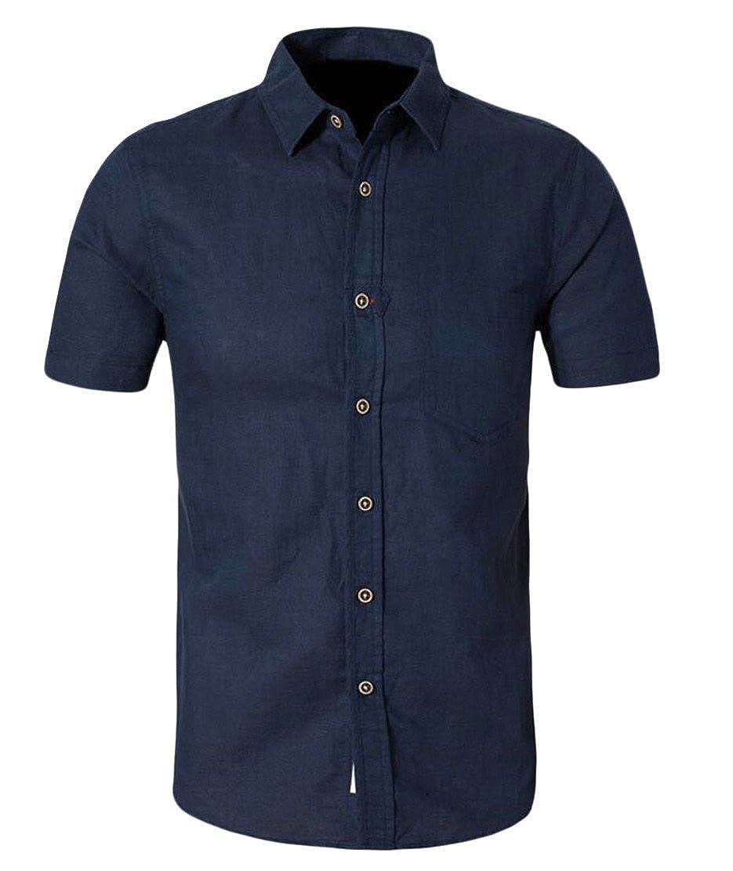Qiangjinjiu Men Lapel Short Sleeve Button Down Chest Pocket Slim Fitted Shirt Dress Shirt