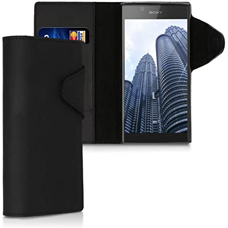kalibri Funda para Sony Xperia L1 - Carcasa con [Tapa magnética] de [Cuero] - Case de Piel Real en [Negro]