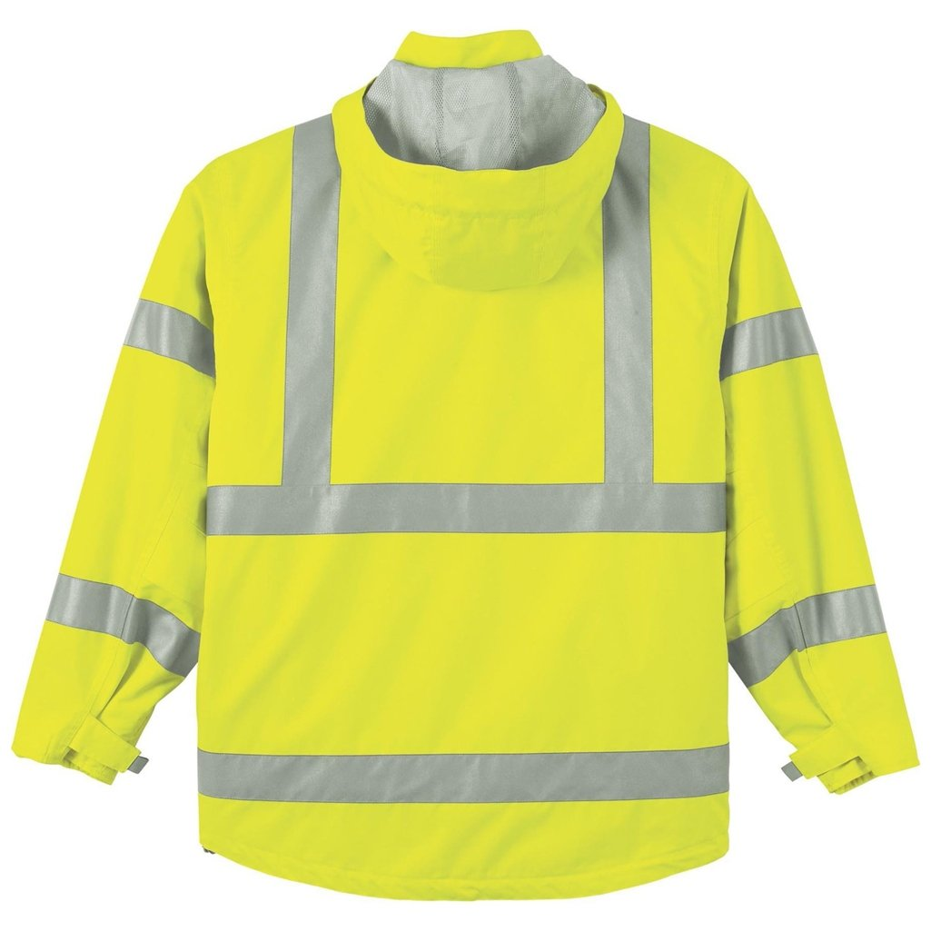 Ash City Mens 3 in 1 Vertical Stripe Safety Jacket with Fleece Liner (X-Small, Safety Yellow)