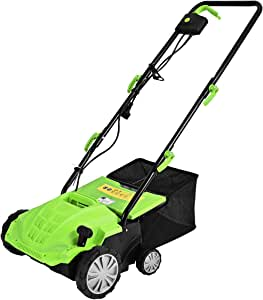 Goplus 2-in-1 Lawn Dethatcher 12Amp, 3 Level Depth Adjustable Weeder w/ 40L Collection Bag & 2 Removable Blades, Corded Electric Scarifier for Garden & Yard