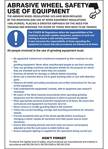 Caledonia Signs 58125 Abrasive Wheel Regulations Poster Caledonia Signs Ltd