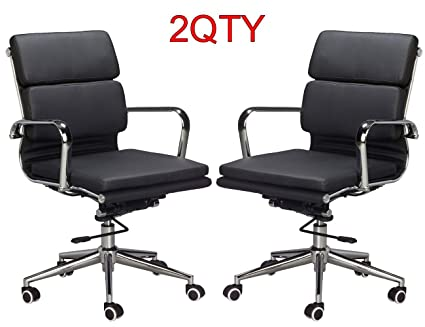 Amazing Eames Replica Medium Back Office Chair Vegan White Leather Office Chair Thick High Density Foam Stabilizing Bar Swivel Deluxe Tilting Mechanism Forskolin Free Trial Chair Design Images Forskolin Free Trialorg