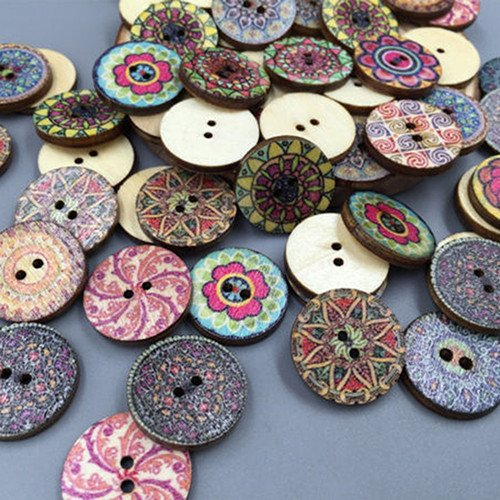 button art 100x Mixed Vintage Colorful Flowers Wood Buttons Scrapbooking Sewing Craft 20mm button up womens shirt