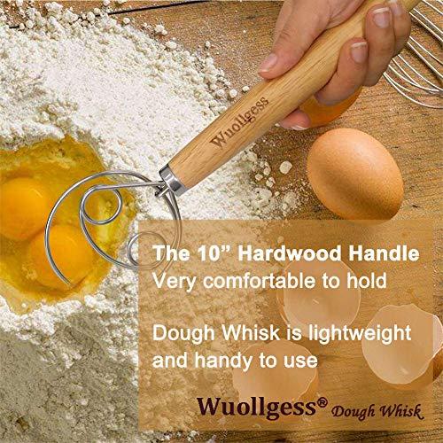 Wuollgess 2 Eyes Danish Dough Whisk Stainless Steel Dutch Style Bread Sourdough Hand Mixer Wooden Handle Kitchen Baking Tools Artisian Blender