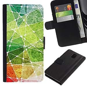 YiPhone /// Tirón de la caja Cartera de cuero con ranuras para tarjetas - Acuarelas - Samsung Galaxy Note 3 III