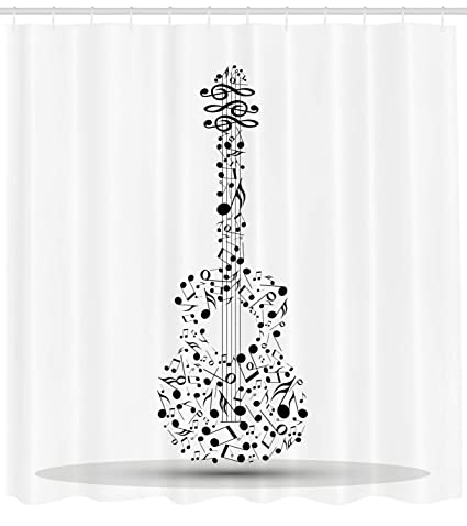 Lunarable Guitar Shower Curtain Musical Notes In The Shape Of An Acoustic Art Band