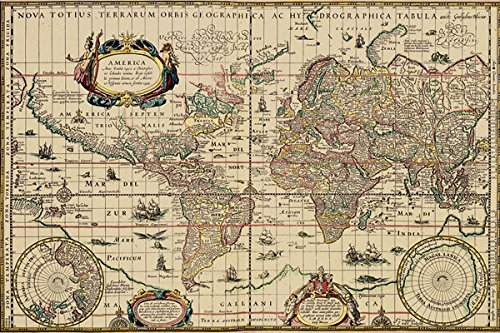 Popular Historical Explorers World Map; One 18x12in Poster Print - Vintage Explorer