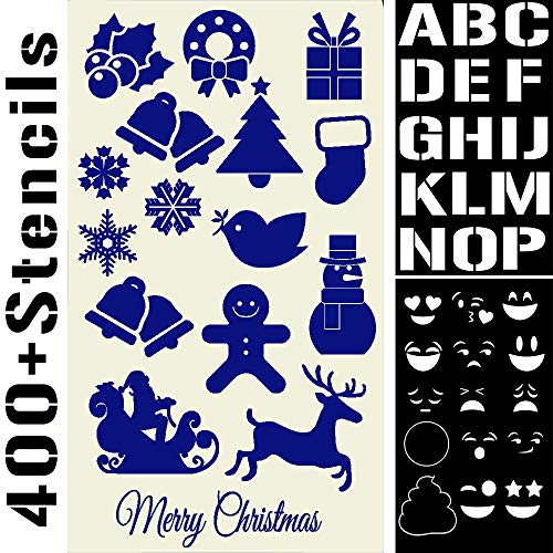 400 Stencils Set Alphabet Letters Numbers for Art and Craft, Christmas Cards, Face Paint, Bullet Journal Writing, Doodle Drawing, Decorate Fabric Wood Rock Glass - Reusable Stencil 20 Sheets 4x7 inch