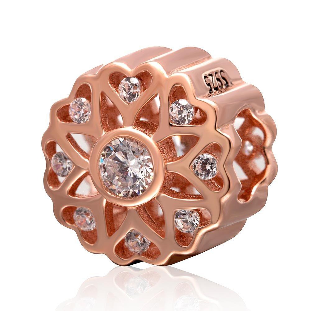 argent sterling 925 ton or rose/-/Travail ajour/é avec zircons cubiques/-/Perle pour bracelets europ/éens Breloque en forme de fleur et c/œurs