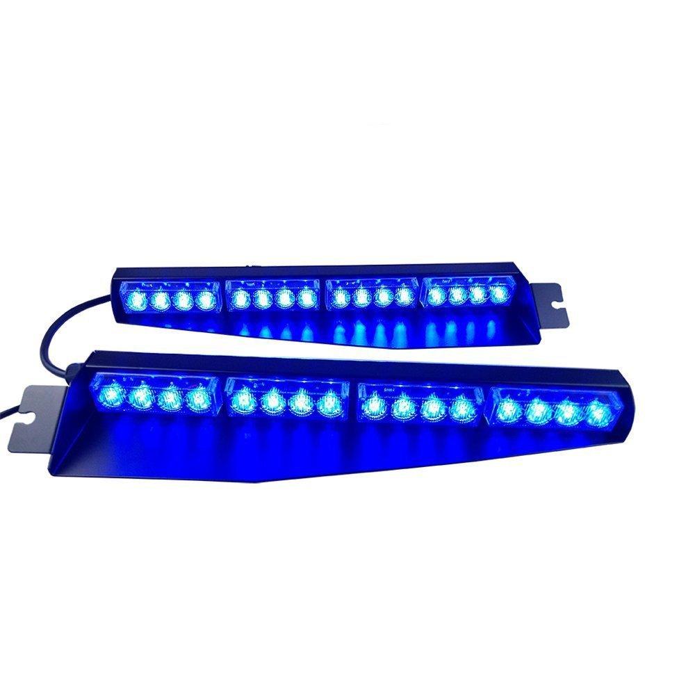Oglight 32W32LED Visor Light Hazard Emergency Warning Windshield Strobe Lightbar(Blue)