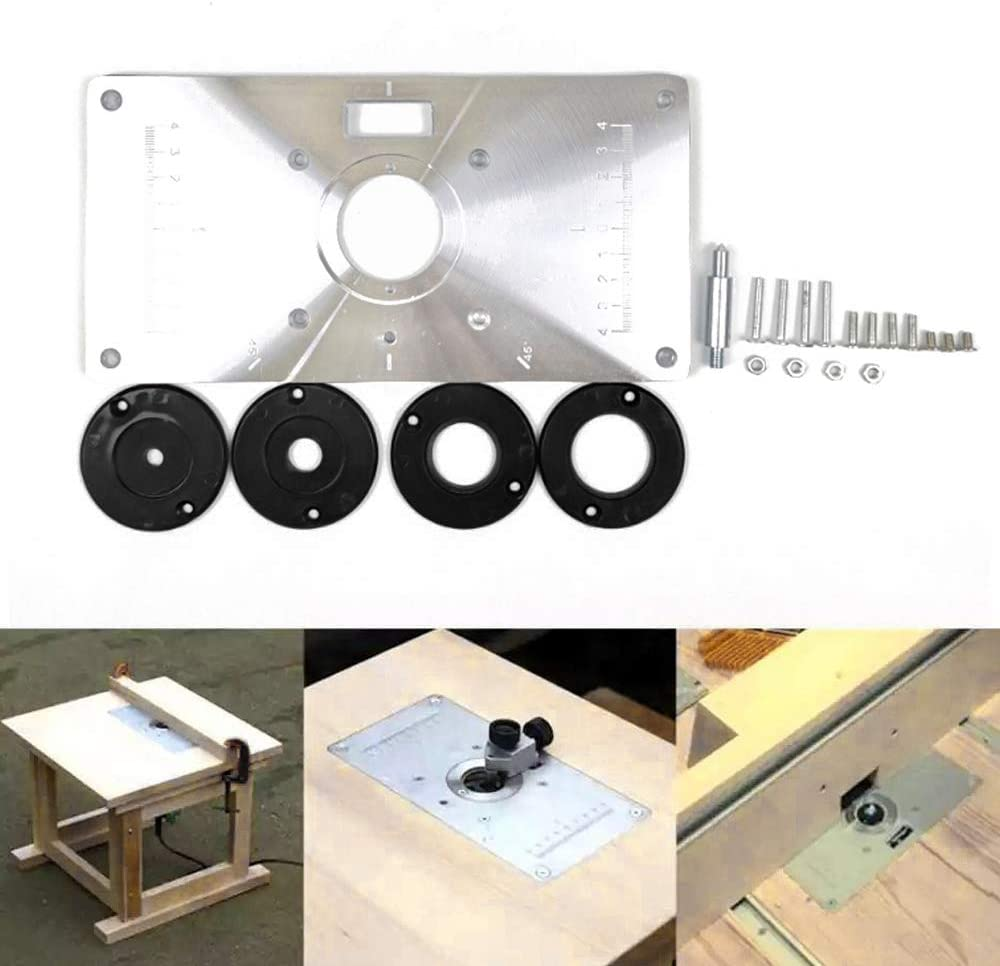 Leepesx Multifunctional Router Table Insert Plate Woodworking Benches Aluminium Wood Router Trimmer Models Engraving Machine with 4 Rings Tools