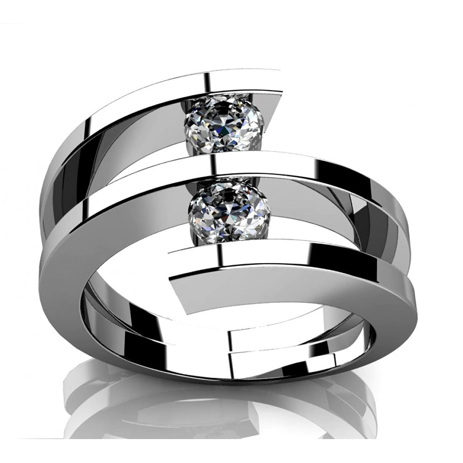 060 Ct Two Round Cut Diamonds Anniversary Ring In 14 Kt White Gold In Size  7