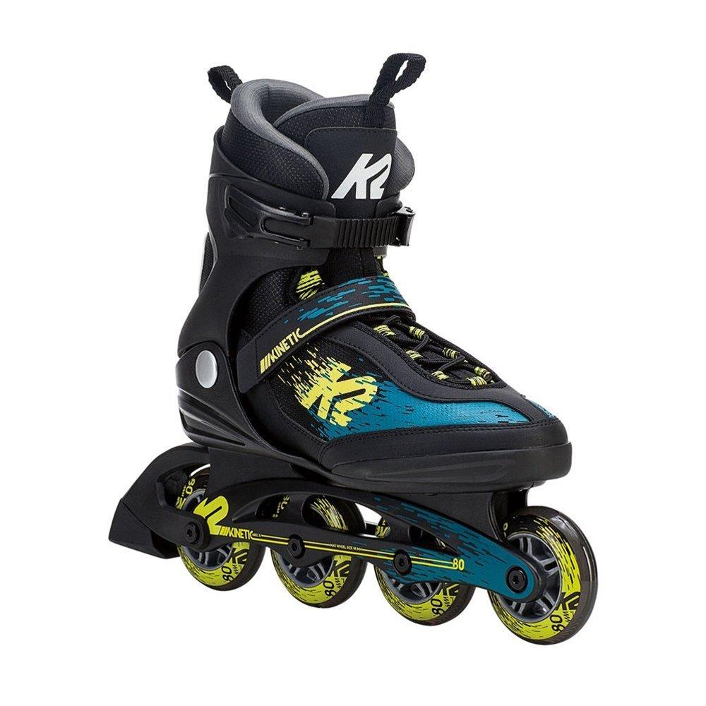K2 Skate Men's Kinetic 80 Inline Skate, Black Green Yellow, 10