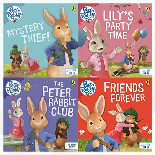 Beatrix Potter Collection Peter Rabbit Animation 4 Books Bundle (Mystery Thief!,Lily's Party Time,The Peter Rabbit Club,Friends Forever) by Beatrix Potter (2016-11-09)