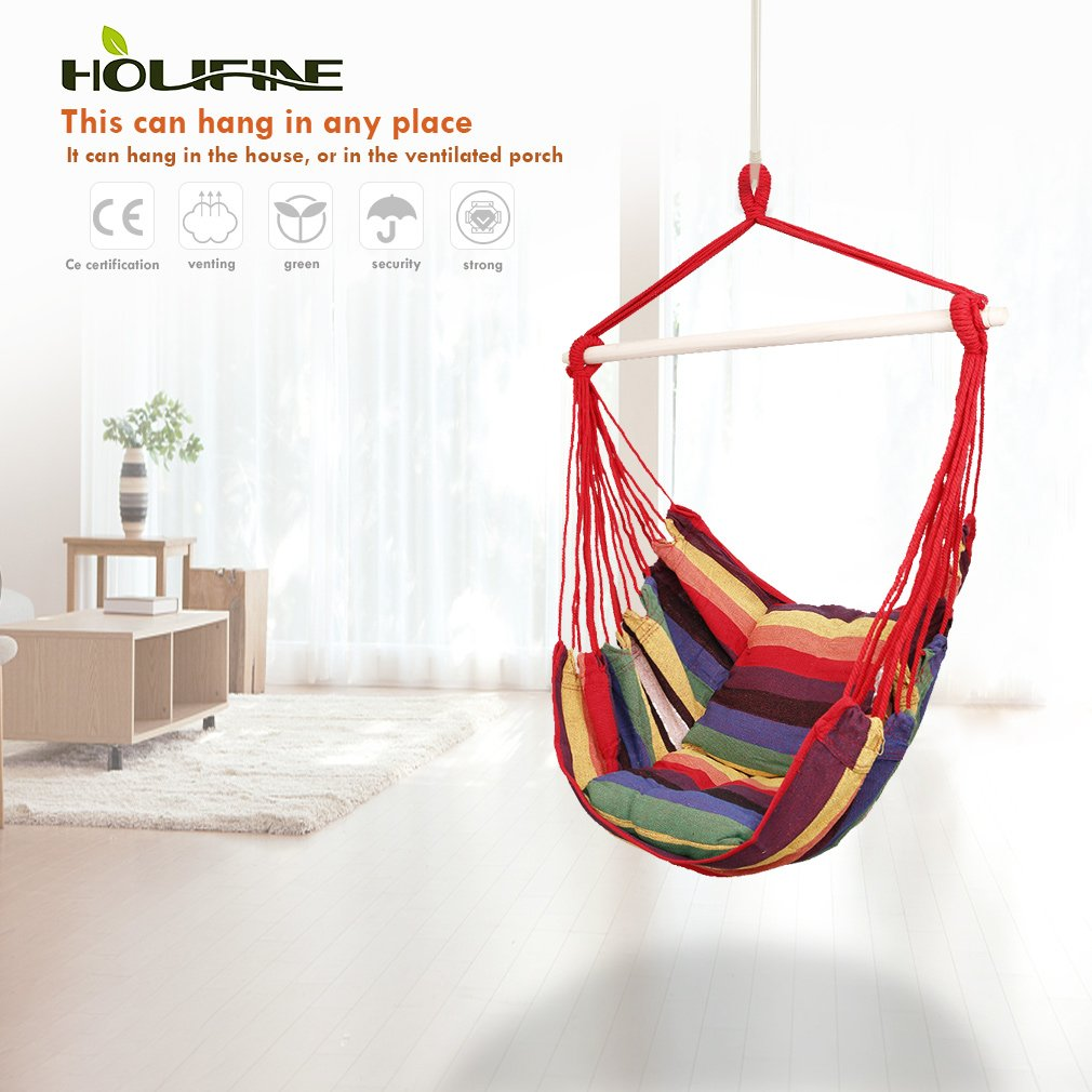 Holifine Cotton Hanging Rope Hammock Chair Swing Seat for Any Indoor or Outdoor Spaces - Max Load of 120kg/265 lbs - 2 Seat Cushions Included - Brown