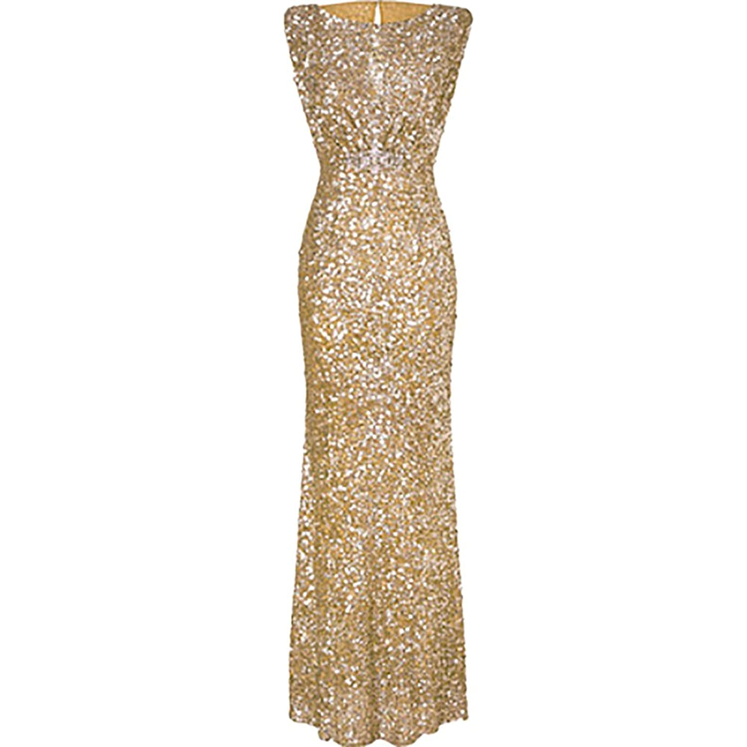 934ed2229fd5 iShine Women's Sparkling Sequins Prom Party Dress Sexy Backless Sleeveless  Full Length Evening Dress O Neck / Double V Neck at Amazon Women's Clothing  store ...