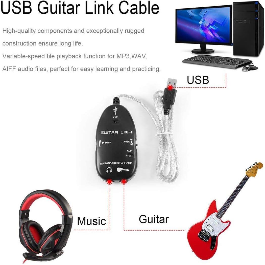 Pgige Bajo Guitarra eléctrica a USB Cable de Enlace de Interfaz ...