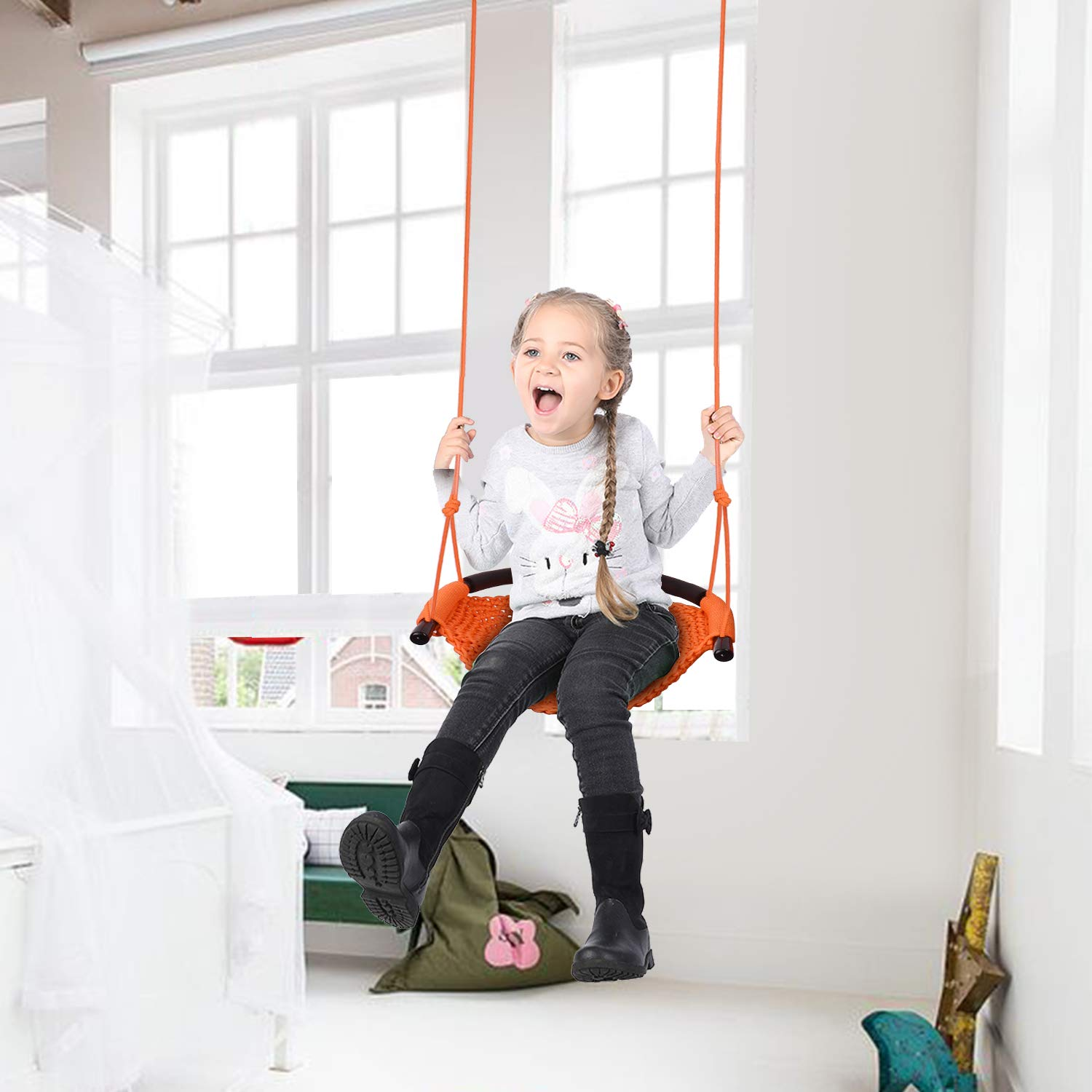 JKsmart Swing Seat for Kids Heavy Duty Rope Play Secure Children Swing Set,Perfect for Indoor,Outdoor,Playground,Home,Tree,with Snap Hooks and Swing Straps,440 lbs Capacity,Orange(Patent Pending) by JKsmart (Image #7)