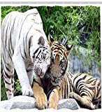 Black And White Animal Tigers Horse And Elephant Shower Curtain Size 66 By 72 Inch
