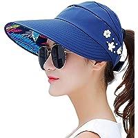 VIVICMW Sombrero de Verano para Mujer, con Visera para el Sol, ala Ancha, protección UV, para Verano, Playa, Plegable, de algodón, para el Sol