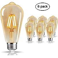 Edison Ampoule , Mixigoo Edison Lampe LED Vintage Ampoule Décorative E27 4W ST64 Antique Filament Rétro Lumière Blanc Chaud Pour Lampe Murale Lampe Suspendue Suspension - 6 Pack